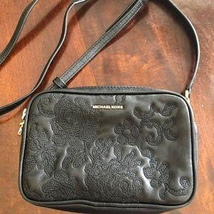 Michael Kors black leather floral crossbody